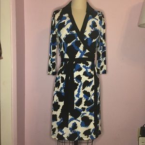 Blue Leopard animal print Calvin Klein wrap dress